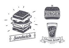 Sistema de muestras del restaurante de los alimentos de preparación rápida del vintage, el panel libre illustration