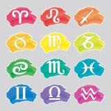 Sistema de muestras del zodiaco de la acuarela Fotografía de archivo libre de regalías