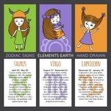 Sistema de 3 muestras del zodiaco de las tarjetas ilustración del vector