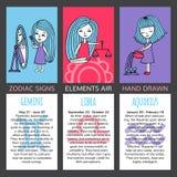 Sistema de 3 muestras del zodiaco de las tarjetas Imagenes de archivo