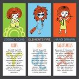 Sistema de 3 muestras del zodiaco de las tarjetas Imagen de archivo libre de regalías
