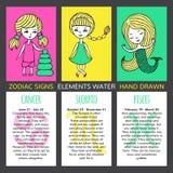 Sistema de 3 muestras del zodiaco de las tarjetas stock de ilustración