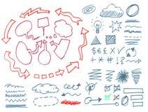 Sistema de muestras gráficas dibujadas mano. Fotografía de archivo libre de regalías