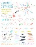 Sistema de muestras gráficas dibujadas mano. Imagenes de archivo