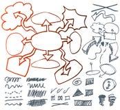 Sistema de muestras gráficas dibujadas mano. Foto de archivo
