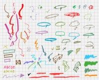 Sistema de muestras gráficas dibujadas mano. Imagen de archivo