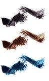 Sistema de muestras planas del rimel Movimientos del cepillo de diversas sombras del rimel Remolinos coloridos aislados en el fon Foto de archivo