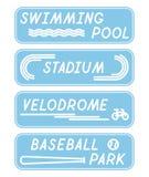 Sistema de muestras planas mínimas estilizadas con nombres de los lugares de deporte Fotografía de archivo