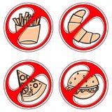 Sistema de muestras que prohíben los alimentos de preparación rápida Fotos de archivo
