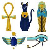 Sistema de muestras y de símbolos egipcios Culturas de Egipto antiguo ilustración del vector