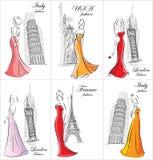 Sistema de mujeres de la moda ilustración del vector
