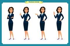 Sistema de mujeres de negocios elegantes en ropa formal Guardarropa bajo, código de vestimenta corporativo femenino ilustración del vector