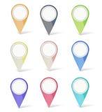 Sistema de multicolor los marcadores del mapa Fotos de archivo