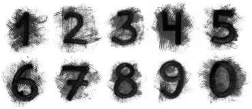 Sistema de números del grunge Imágenes de archivo libres de regalías