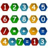 Sistema de números en marco del hexágono Fotos de archivo
