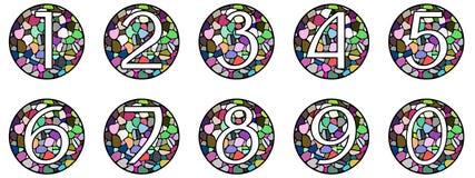 Sistema de números en mosaico Fotos de archivo libres de regalías