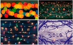 Sistema de números de madera que forman el número 2018 y el ligh de la Navidad Imagen de archivo