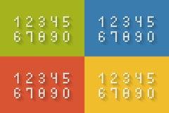 Sistema de números planos del pixel Fotos de archivo libres de regalías
