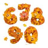 Sistema de números tridimensionales animados enormes del otoño: 6, 7, 8, Fotografía de archivo libre de regalías