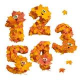Sistema de números tridimensionales animados enormes del otoño: 1, 2, 3, Imagenes de archivo