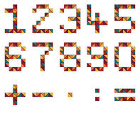 Sistema de números y de símbolos de la matemáticas en el estilo geométrico hecho de color Imagen de archivo