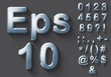 Sistema de números y de símbolos del cromo 3D ilustración del vector