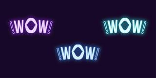 Sistema de ne?n del icono de la frase del wow Texto que brilla intensamente del vector stock de ilustración