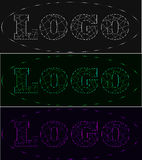 Sistema de neón del logotipo de los rayos laser, sombras de gris, verde, violeta stock de ilustración