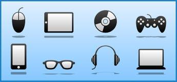 Sistema de 8 negros y de iconos blancos del friki/del empollón/del videojugador del ordenador ilustración del vector