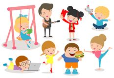 Sistema de niños diversos Colección feliz de la historieta del carácter del niño actividad en la guardería, libros de lectura, ju stock de ilustración