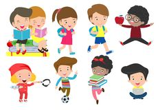 Sistema de niños diversos Colección feliz de la historieta del carácter del niño actividad en la guardería, libros de lectura, ju ilustración del vector