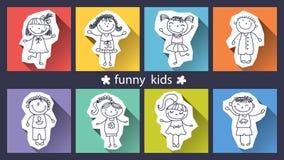 Sistema de niños divertidos en fondo Imágenes de archivo libres de regalías