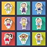 Sistema de niños divertidos en fondo Fotografía de archivo libre de regalías