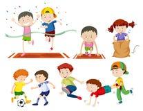 Sistema de niños que hacen activies del deporte stock de ilustración