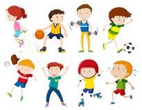 Sistema de niños que hacen activites ilustración del vector
