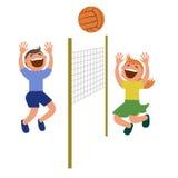 Sistema de niños que juegan a voleibol Imagen de archivo libre de regalías