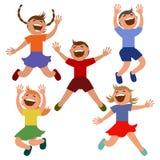 Sistema de niños que saltan con alegría Imagen de archivo