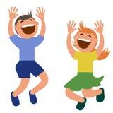 Sistema de niños que saltan con alegría Fotos de archivo libres de regalías