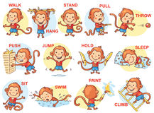 Sistema de niños de la historieta que llevan a cabo diversos objetos Imágenes de archivo libres de regalías