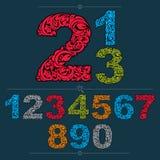 Sistema de números adornados del vector, numeración flor-modelada color Imágenes de archivo libres de regalías