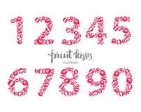 Sistema de números, hecho de besos impresos Imagen de archivo