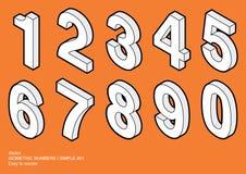 Números isométricos   #01 simple Imagen de archivo