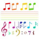 Sistema de notas musicales en el color - ejemplo Imagen de archivo