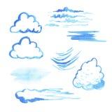 Sistema de nubes de la acuarela Fotos de archivo libres de regalías