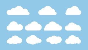 Sistema de nubes en fondo azul Ejemplo plano del vector Foto de archivo