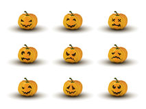 Sistema de nueve caras de la calabaza de Halloween con emociones Imagenes de archivo