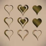 Sistema de nueve corazones aislados simples del vector con el modelo metálico de bronce Imágenes de archivo libres de regalías