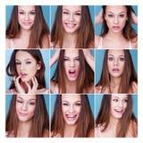 Sistema de nueve diversas expresiones en una muchacha bonita Imagen de archivo