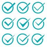 Sistema de nueve diversas marcas de verificación o señales en círculos Fotografía de archivo