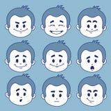 Sistema de nueve expresiones faciales Foto de archivo libre de regalías